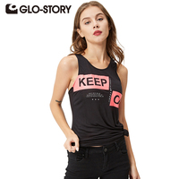 GLO STORY Band 2017 Casual Women Clothing Letter Print Casual Loose Tank Tops With Star Summer
