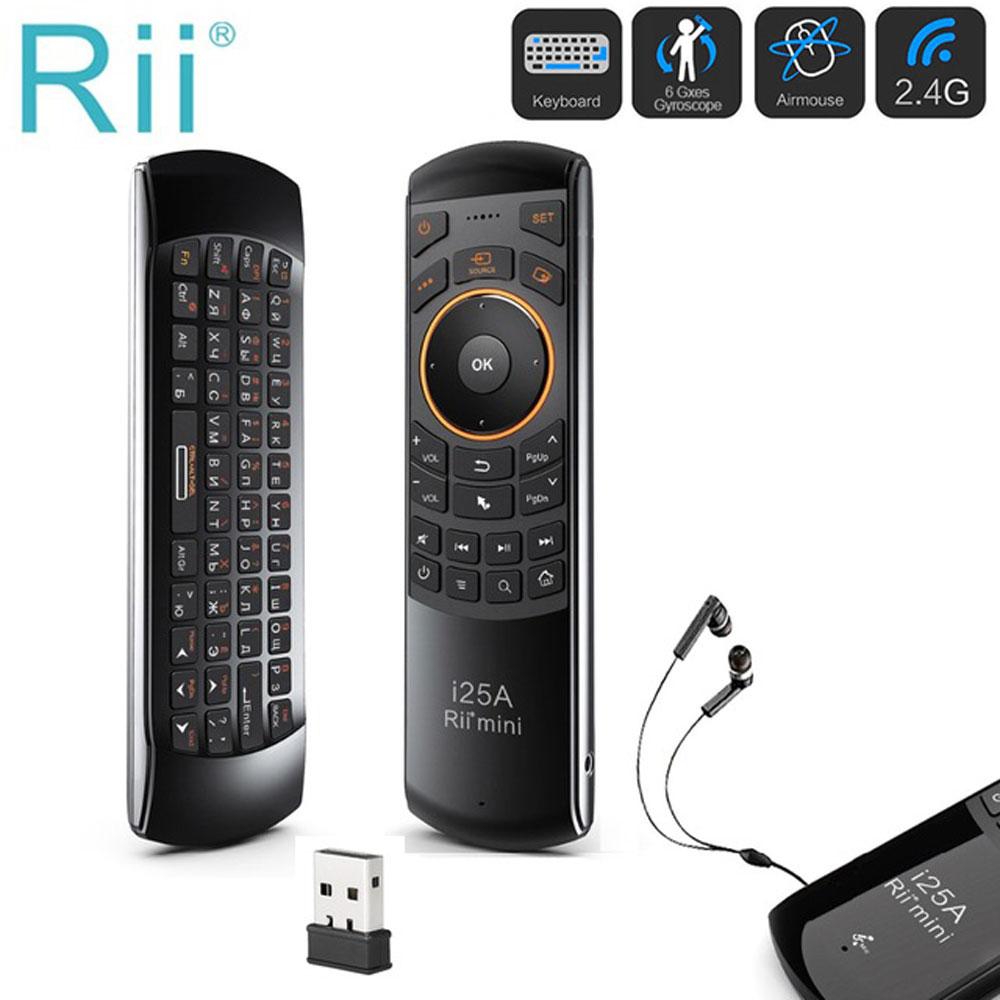 Mini 2,4 GHz Fly Air ratón de Rii i25A ruso inglés teclado con función de aprendizaje IR Control remoto para Android TV Box