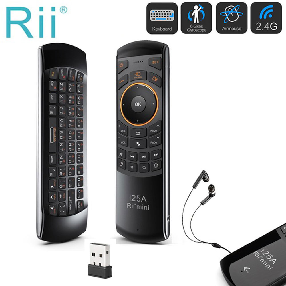 Mini 2.4Ghz Wireless Fly Air mouse Rii i25A Russian English Keyboard with IR Learning function Remote Control for Android TV Box new arrival 2 4ghz wireless fly air mouse mini keyboard remote control with ir learning function for android tv box pc computer