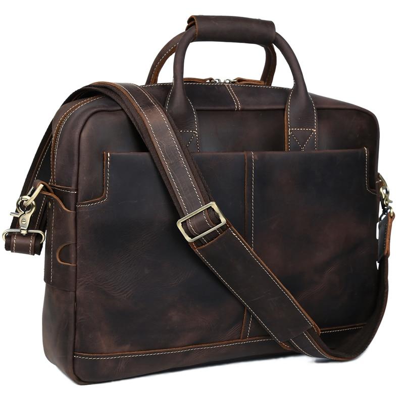 TIDING Top Quality Men Briefcase Vintage Crazy Horse Leather Messenger Bag Brown Crossbody Laptop Handbag 10192