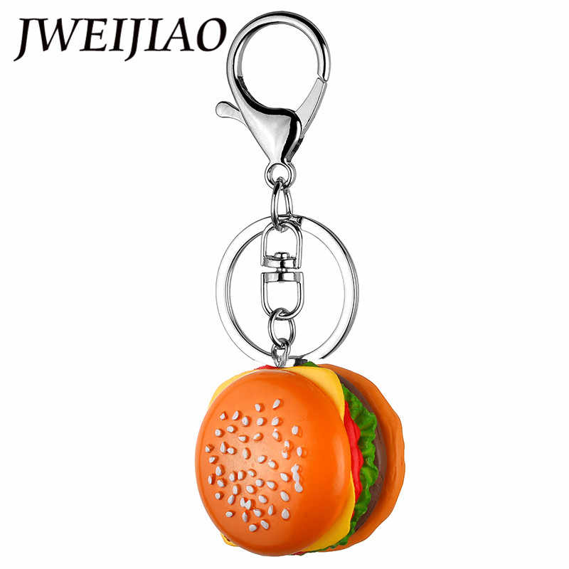 JWEIJIAO Hamburger Keychain DIY Simulation  Handmade Accessories Mobile Phone Shell Bag Pendant Resin Food Ornament DS27