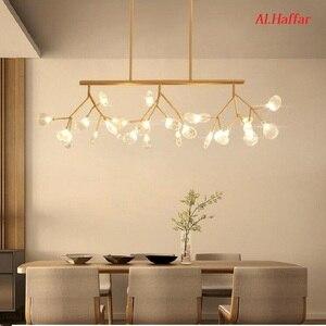 Image 2 - Moderno led novas luzes pingente criativo firfly preto ouro retângulo pingente lâmpada para sala de jantar cozinha