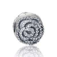 Mother's Day Rose Clip Charm Beads Fit European pandora Bracelet 925 Sterling Silver Rose Flower Beads Diy Fine Jewelry