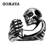 GOMAYA 316L Stainless Steel Mens Rings Skull Skeleton Cool Halloween Jewelry Gift for Men Wholesale Hollow Biker Anillos