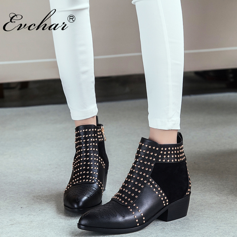 popular design pointed toe thick square heel riding rivets women Martin ankle boots fashion genuine leather boots size 34-43 women spring autumn thick mid heel genuine leather round toe 2015 new arrival fashion martin ankle boots size 34 40 sxq0902