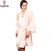 2017 Loose Women S Robe Kimono Bath Gown Yukata Nightgown Lady Faux Silk Sleepwear Sleepshirts Pijama