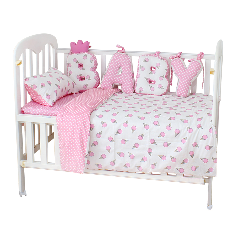 Baby Bedding Set Cotton Soft Breathable Crib Kit Include Duvet Cover Pillowcase Bed Sheet No Filler Custom Made Letter Bumper