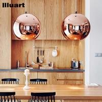 Bolla di vetro palla pendente luce e27 led lampadina specchio di rame lampadario da soffitto luce lampada a sospensione palla di vetro di natale di illuminazione
