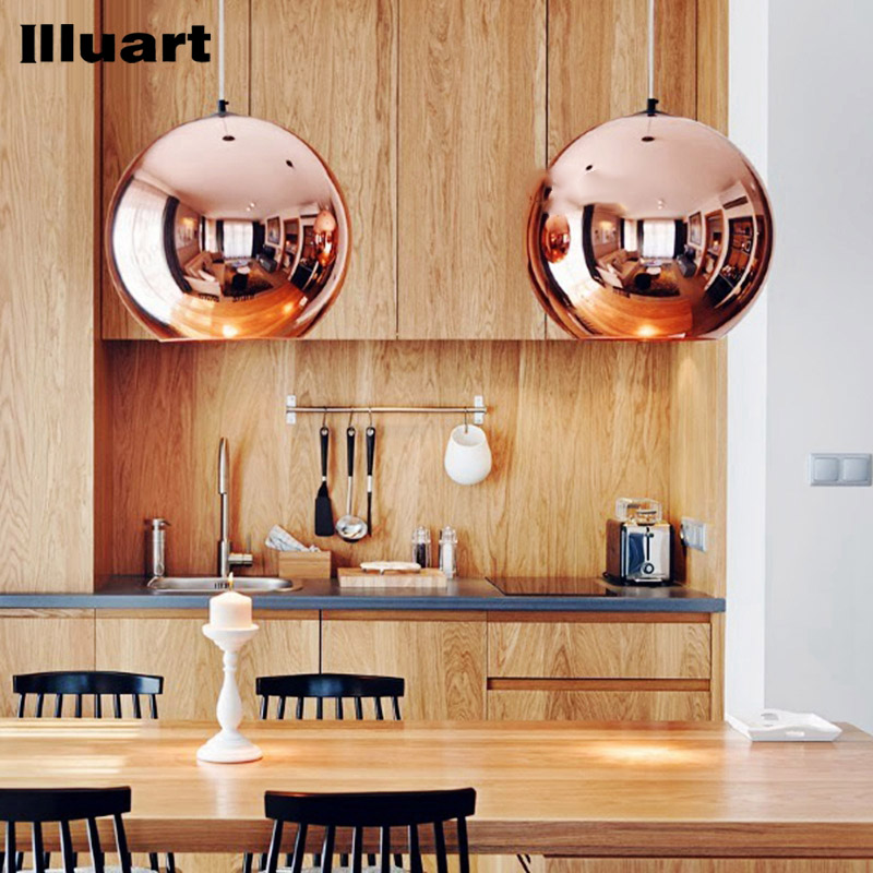 Glass Bubble Ball Pendant light E27 LED Bulb Copper Mirror Chandelier Ceiling Light Pendant Lamp Christmas Glass Ball Lighting 150mm diameter glass pendant light edison bulb led vintage copper white ball glass shade lighting fixture brass pendant lamp