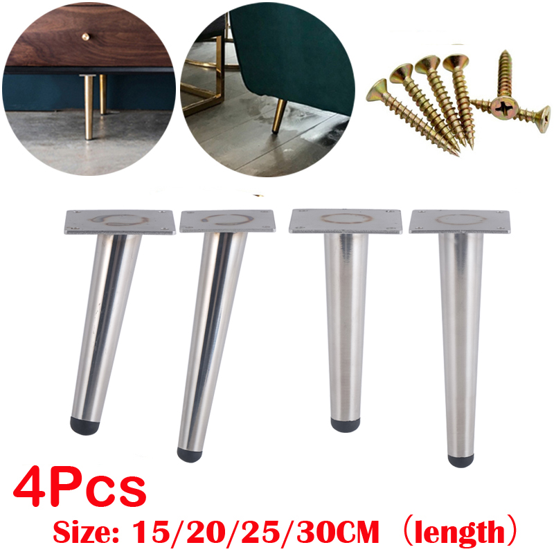 4Pcs Stainless Furniture Table Legs Load 900KG TV Cabinet Foot Sofa Leg Hardware Cabinet Feet 15/20/25/30CM Silver Tapered Leg
