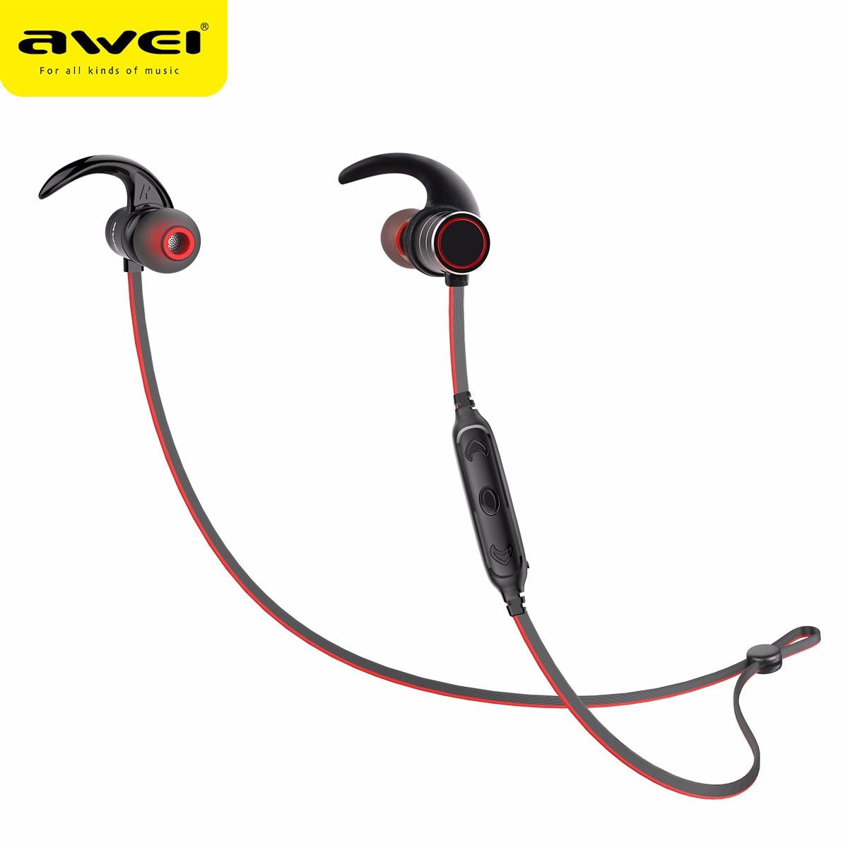 2018 AWEI AK9 Wireless Deportes Bluetooth Auricular Magnético IPX4 Impermeable Auriculares para IPhone para Huawei Teléfonos Inteligentes