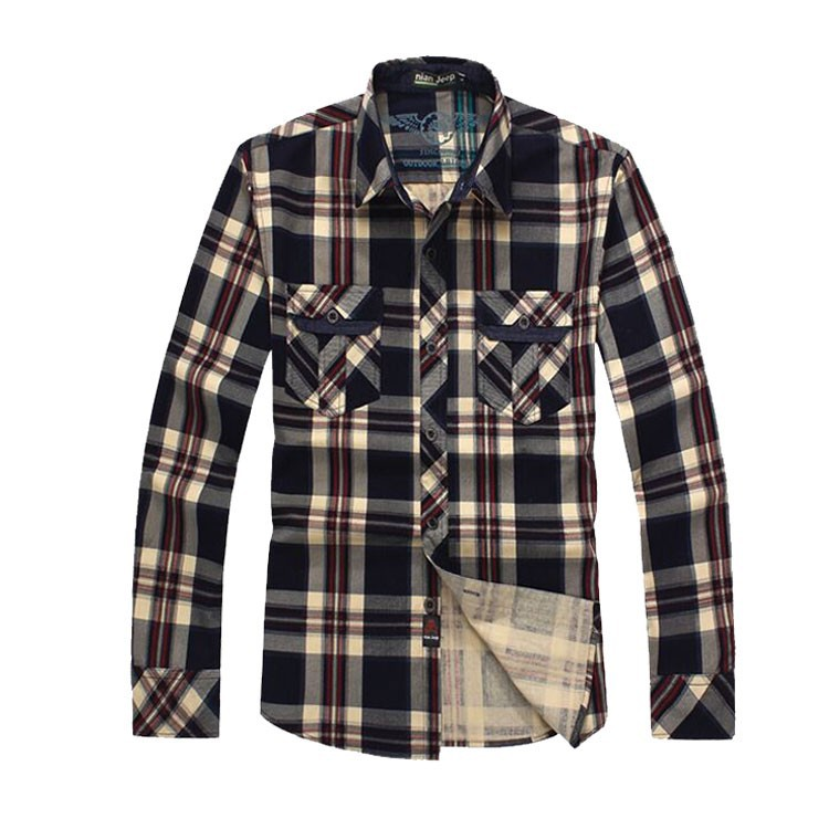 2015 Men Brand NIAN JEEP Plaid Dress Shirts Plus Size Long Sleeve Cotton Casual Loose Camisas Hombre Blouse Business Clothes 3XL (1)