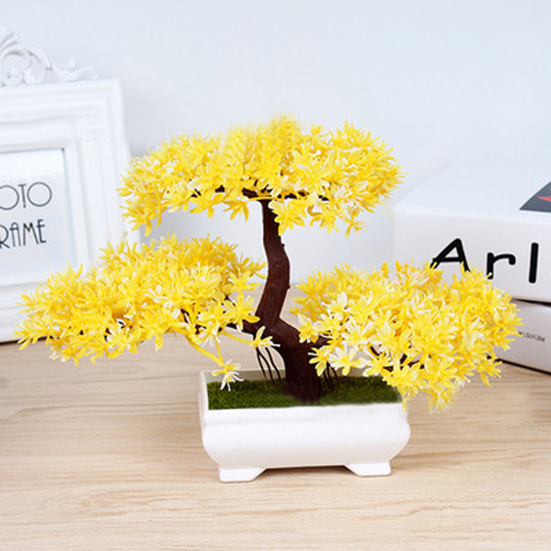 18cm/7.09 Bonsai Tree in Square Pot Artificial Plant Decoration for Office Home Decor Violet/Pink/Orange/Red/Yellow/Purple