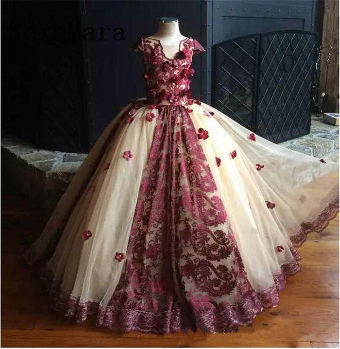 New Burgundy Applique Lace Ball Gown   Girls   Pageant   Dress   Birthday Party Gown Puffy Tulle   Flower     Girl     Dress   Custom Made Size