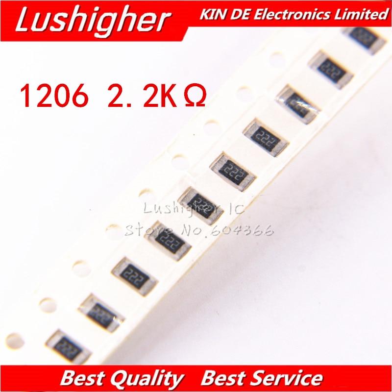 100PCS 1206 SMD Resistor 5% 2.2K Ohm 222 2.2Kohm 2200ohm