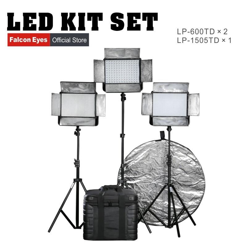 Falconeyes 36W LED Estúdio Luz Com Tela LCD LP-600TD * 2 + 75W LP-1505TD Fotografia Luz de Vídeo Profissional conjunto Kit de equipamentos