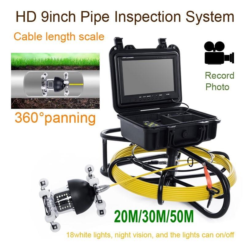 WP9600D 360 градусов вращения Подводный Видео Камера 20/30/50 м 9 дюймов ЖК дисплей промышленной трубопроводной эндоскопа Камера инспекции Системы