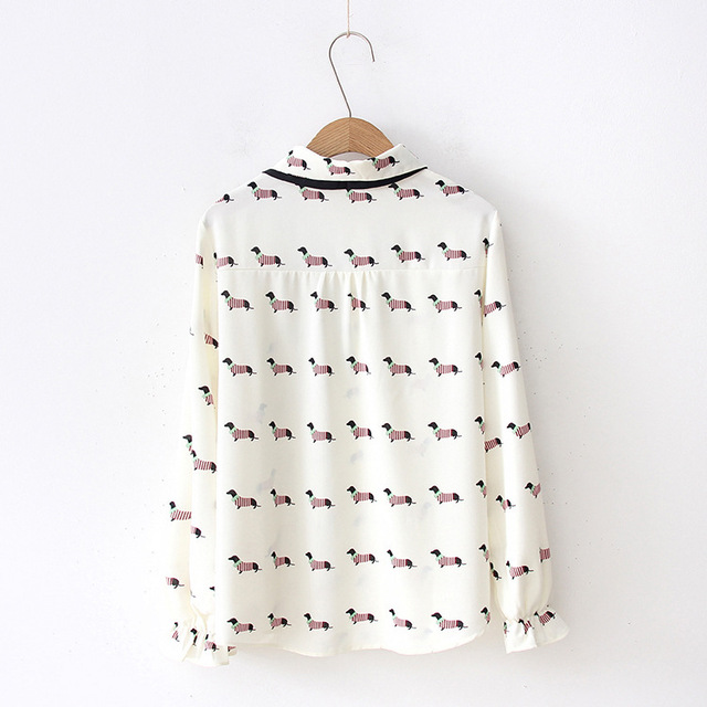 Women's Cute Dog Printed Blouse with Bowtie
