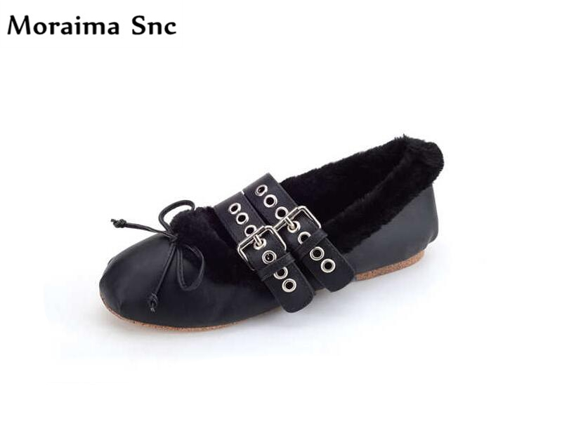 Здесь продается  Moraima Snc 2018 winter newest women flats PU leather butterfly-knot thick fur casual shoes leather buckle round toe solid shoes  Обувь