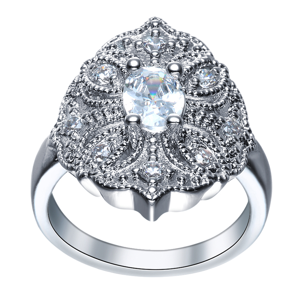 2017 lady hot sale luxury fashion trendy hollow flower bridal Art Rings Cute lady engagement finger rings white zircon jewelry