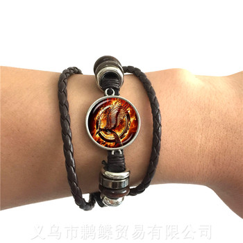 Firefighter Leather Bracelet Black/Brown Fire Fighter Accessories Jewelry Glass Cross Bracelet Christmas Best Gifts For Friends image