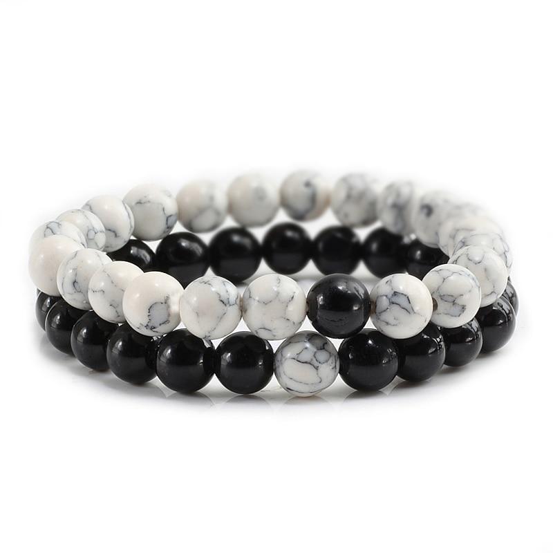 2Pcs/Set Natural Stone bracelets & bangles Yoga Reiki Buddha Bead Elastic Bracelet Yin Yang Distance bracelet Men Women Jewelry