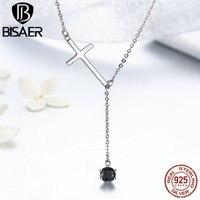 100% 925 Sterling Silver Faith Cross Long Tassel & Black CZ Pendant Necklaces & Pendant Women Authentic Silver Jewelry GXN131