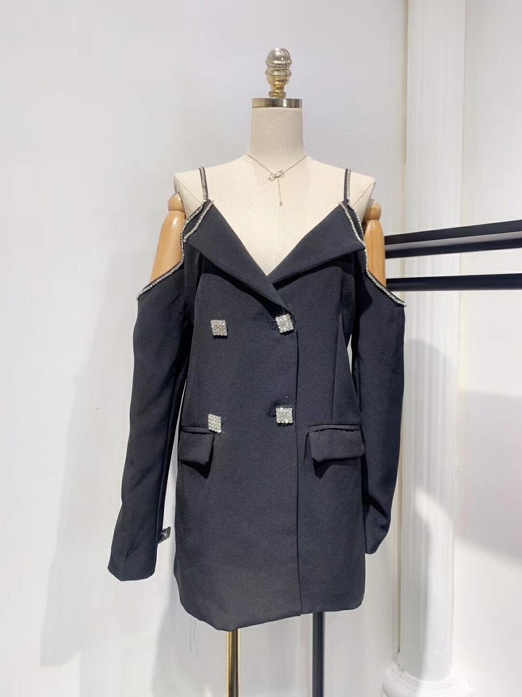 Mode Breasted épaule la Embelli Double Vêtements Ol Veste Hors Noir Femmes De 2019 xqw0nOzgpa