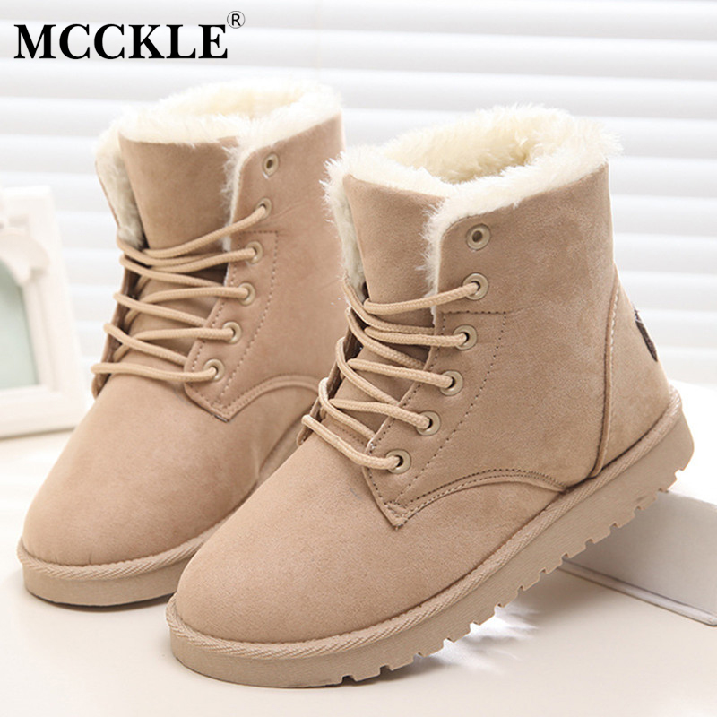 MCCKLE Woman Winter Ankle Snow Boots Fur Suede Shoes Female