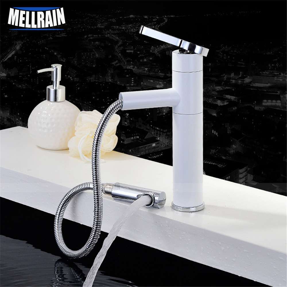 Brass polished and white color paint fashion design bathroom basin mixer faucet pull out & rotation water mixer pastoralism and agriculture pennar basin india