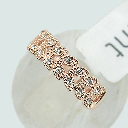 Love Leaf Zircon Jewelry Rings for women  Rose Gold color wedding rings party with Austria crystals Plant Anel Bijoux