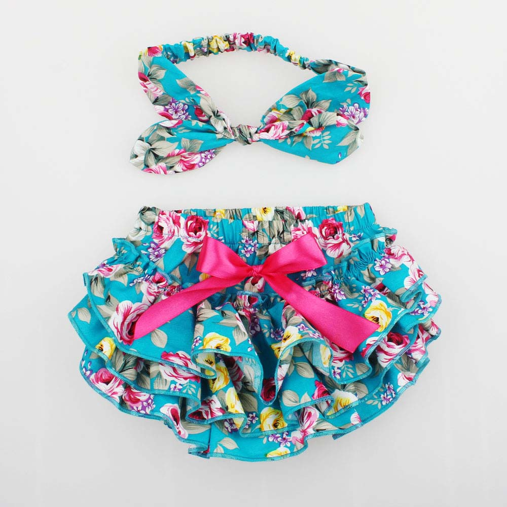 Floral Ruffle Bloomers Baby Bloomer жиынтығын Top Knot Head Wrap Тұқым қуыршақ Фотография Props Infant Diaper Cover KS005