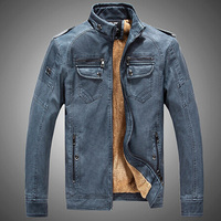 New Men Leather Jacket Fur Stand Collar PU Motorcycle Jaqueta Masculinas Inverno Couro Jacket Men Wadded