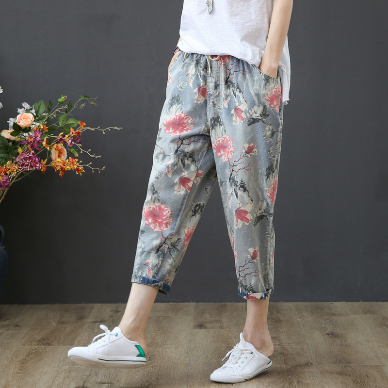 2019 New Fashion Capris Jeans Women Harem Pants High Waist Floral Print Pants Vintage Trousers Fit Lady Jeans in Jeans from Women 39 s Clothing