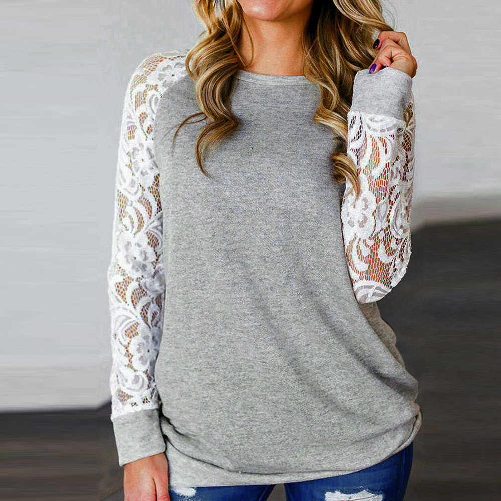 Plus Size Gray Blouse Lace Floral Splicing O-Neck Shirt Blouse Tops Women Fashion Ropa de mujer 2019 Dropship for girl femeal