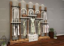 European solid wood clothing display cabinet in the island shelf, the whole shop design leather display cabinet iron display she стоимость