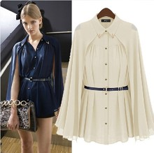 New Arrival Womens Chiffon Cloak Blouses Shirts