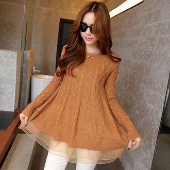 Style coréen femmes a-ligne longue mince col rond gaze Bottoming chandails lâche col roulé dentelle ourlet veste