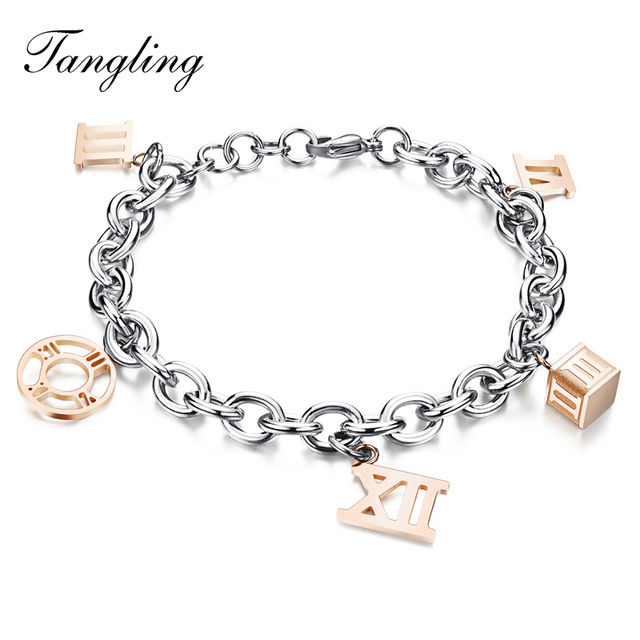 Rome Digital Bracelet Jewelry Titanium Lady Hollow Girls Birthday Gift Girlfriend GS819