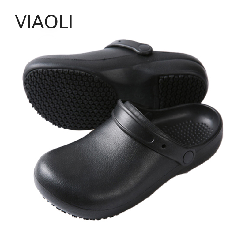 High Quality Non-slip Kitchen Work Shoes Oil-Proof Water-Proof for the Chef Master Cook Hotel Restaurant Slippers Sandals Flat image