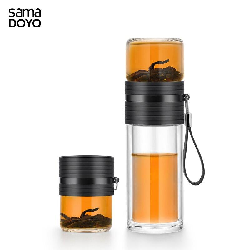 Doppio Strato di Vetro della Bottiglia di Acqua del Tè E Separazione di Acqua Portatile della Bottiglia di Bottiglia Auto Con 304 In Acciaio Inox Infusore Tè di Vetro