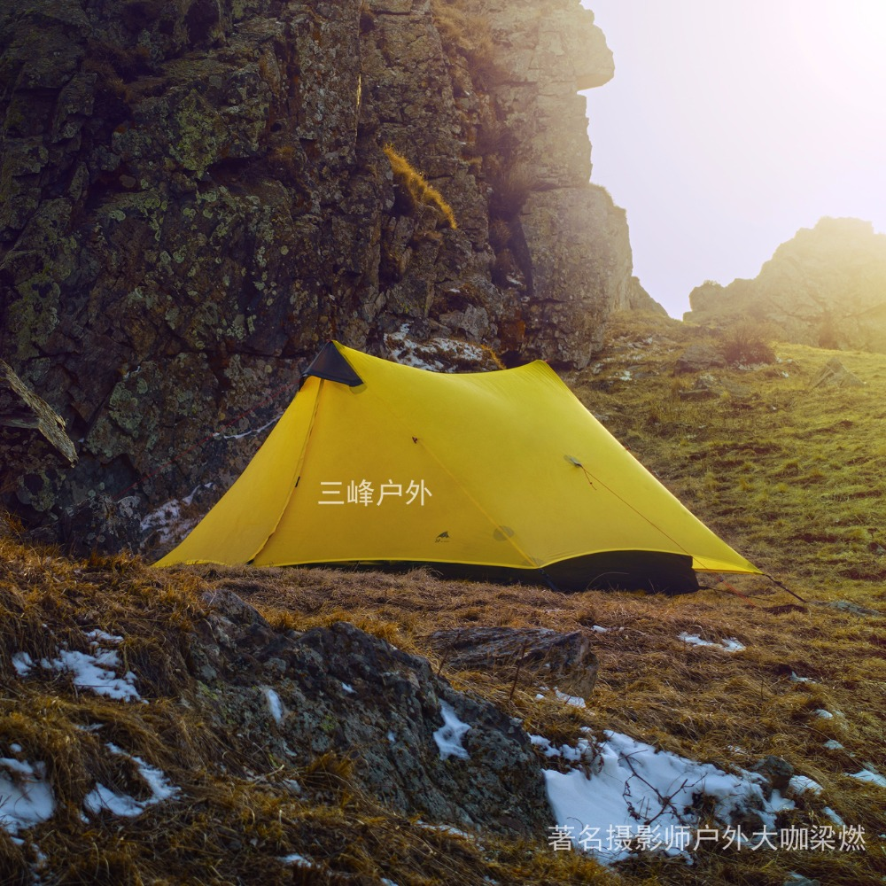 3F UL GEAR 2 People Oudoor Ultralight Camping Tent 3 Season 1 Single Person Professional 15D Nylon Silicon Coating Rodless Tent 995g camping inner tent ultralight 3 4 person outdoor 20d nylon sides silicon coating rodless pyramid large tent campin 3 season