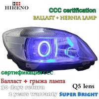 Hireno Modified Headlamp For Skoda Fabia 2008 2012 Headlight Assembly Car Styling Angel Lens Beam HID