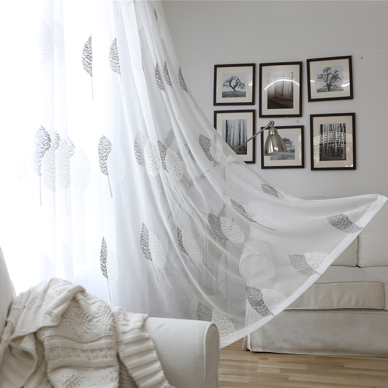 White Sheer Curtains Home Decor Embroidered Tulle Fabric Nordic Style Black Leaves Kitchen Curtain Curtains Aliexpress