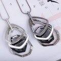 Камень Хризоколла Кулон Моды Личности Новый Корейской Версии Свитер Цепи Неправильные Геометрические Ожерелье многослойная