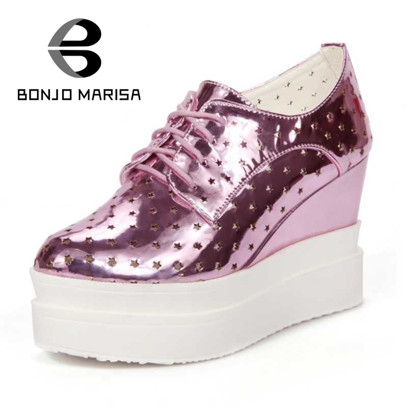 ФОТО BONJOMARISA New Arrivals Women Pumps Sexy Cutout PU Upper High Heel Wedge Summer Shoes Lace Up Round Toe Platform Pumps