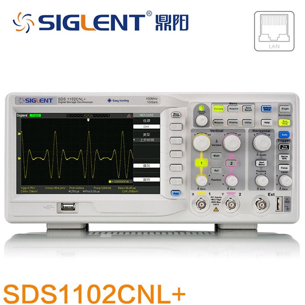 SDS1102CNL Digital Oscilloscope Osciloscopio DSO 100MHz 2Ch 1GS/s 50GS/s USB 110 240V 7 TFT FFT 40K LAN USB batter DSO5102P
