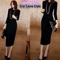 2016 Star Same Style Top End Women Woven Cotton O Neck Long Style Dresses Sheath Dress