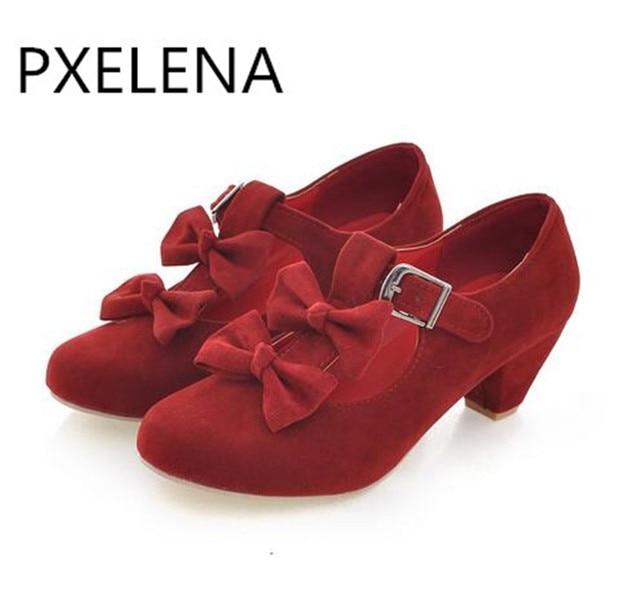 PXELENA 2017 nueva primavera mujeres Mary jane Lolita zapatos Bowtie corte bombas mujeres imitación gamuza bloque tacón bajo bombas zapatos más tamaño