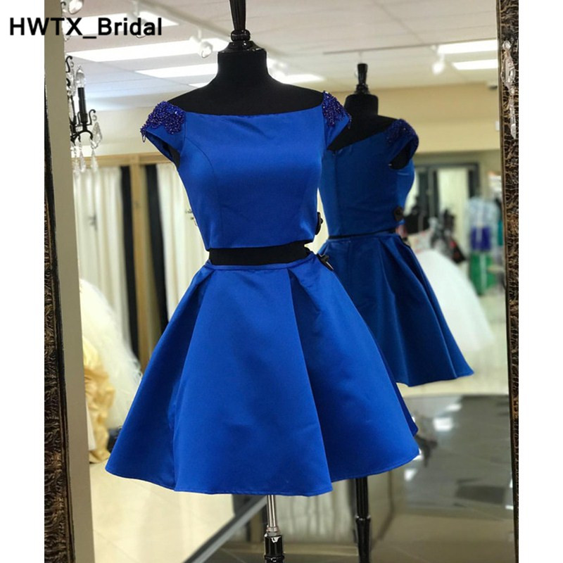 Two Pieces Royal Blue   Bridesmaid     Dress   2018 Bling Beading Pearls   Dress   For Wedding Party Vestidos de fiesta Homecoming Gowns